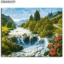 Drawjoy пейзаж подставил картинки живопись by numbers wall art diy холсте маслом home decor gx7362 40*50 см