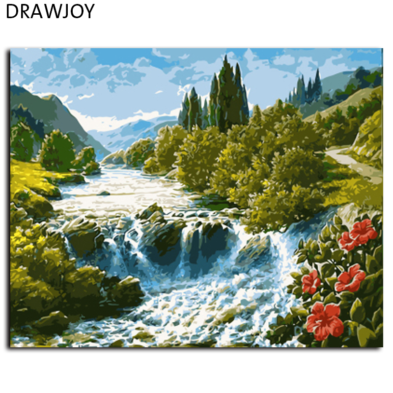 DRAWJOY Landscape Framed Pictures Painting By Numbers Wall Art DIY Canvas Oil Painting Home Decor GX7362 40*50cm