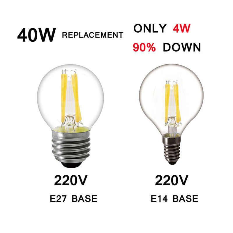 220V LED Edison Bulb Filament E27 E14 LED Candle Light Bulb Light 230V Glass Bulb LampLamp Antique Retro Vintage