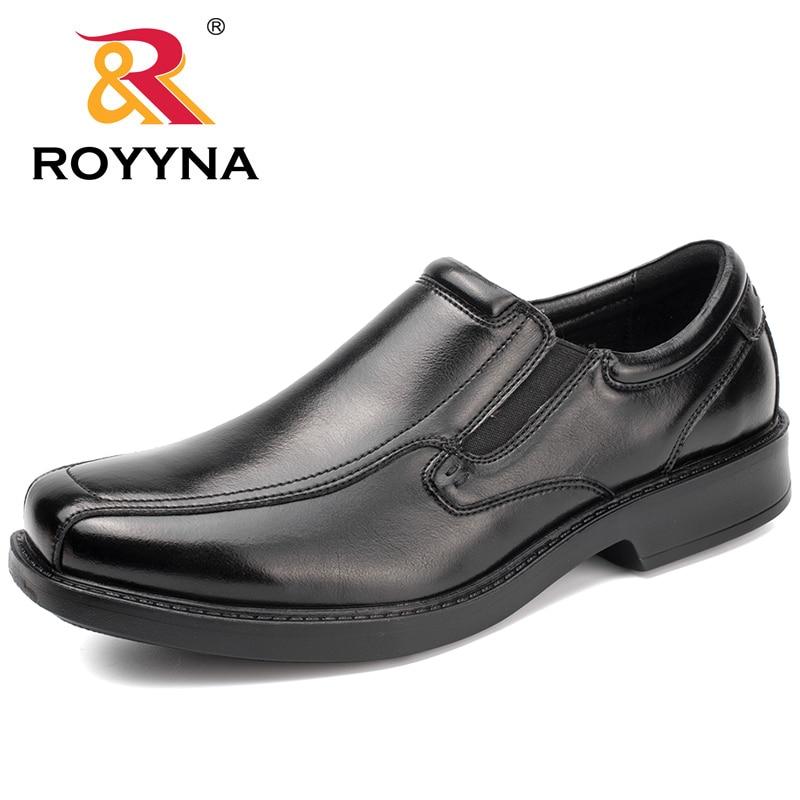 ROYYNA New Classics Style Men Formal Shoes Square Toe Elastic Band Men Business Shoes Microfiber Men