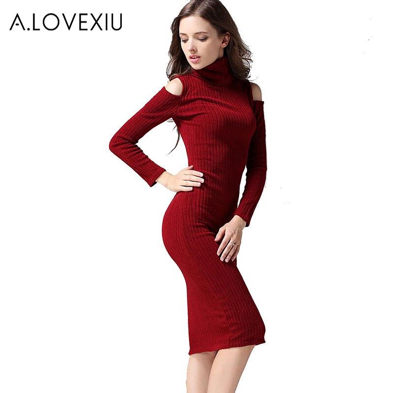 Online Red Turtleneck Sweater Dress