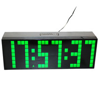 Free Shipping Led Digital Wall Clock 6 Charactors 7 Digits AC Powered UP Alarm Clock With