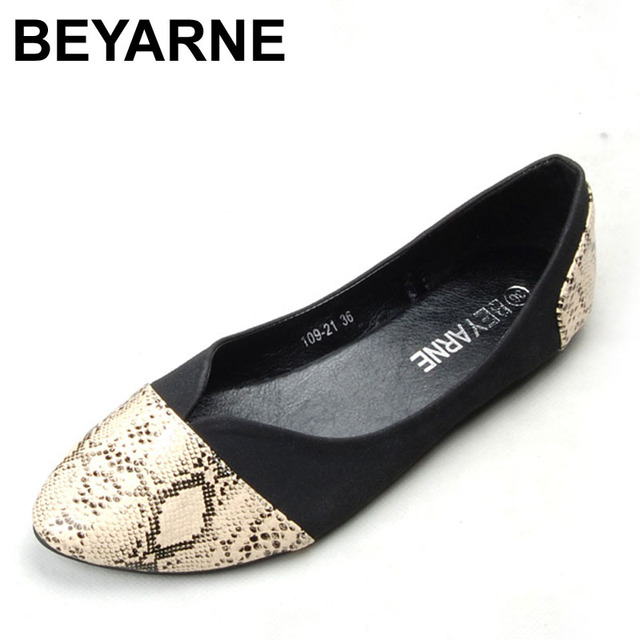 BEYARNE Pointed Toe Flats Sapatilha Ballerina Flats Ballet Shoes Women Sapato Feminino size 35 41