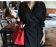 2019 V Neck Long Sleeve A-Line Dress Casual Sashes Wrap Front Split Office Dress Pencil Work Midi Dress wrap split front bell sleeve top