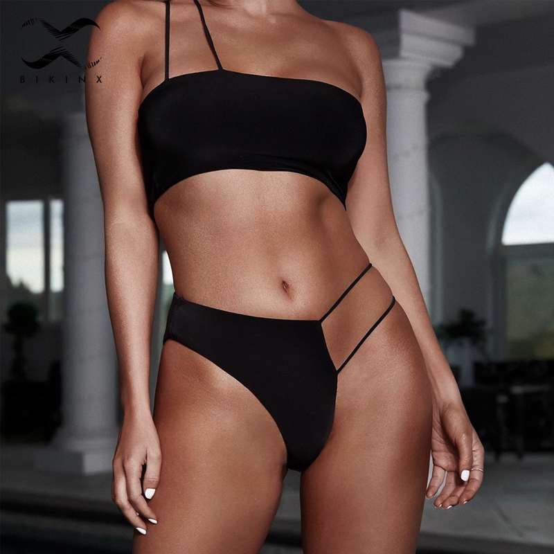 One Shoulder Thong Bikinis 2019 Mujer Bathers High Cut Black Swimwear Women Biquini Bandeau Push Up Swimsuit Female Bathing Suit