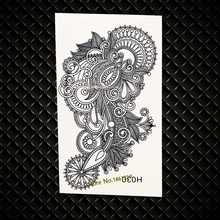 Large Size Indian Mehndi Temporary Tattoo Flower Black Ink Waterproof Fake Tattoos Stickers GH030 Indian Totem Tattoo For Women