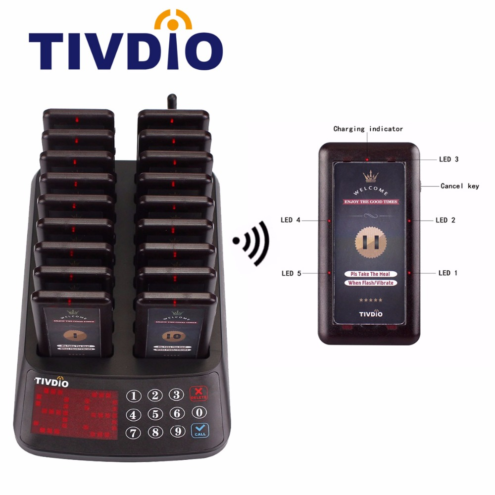 TIVDIO T-115 Waiter Call Pager Wireless Restaurant Paging Queuing System 18 Coaster Pagers Receiver +1 Keypad Transmitter F9406 tivdio 10pcs wireless call button transmitter pager bell waiter calling for restaurant market mall paging waiting system f3286f