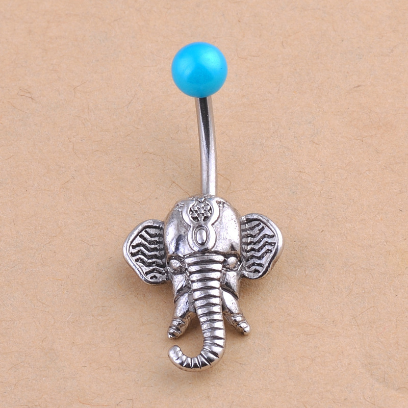 Fashion Navel Belly Button Rings Elephant Design Steel Belly Bars Navel Piercing Body Jewelry -1513