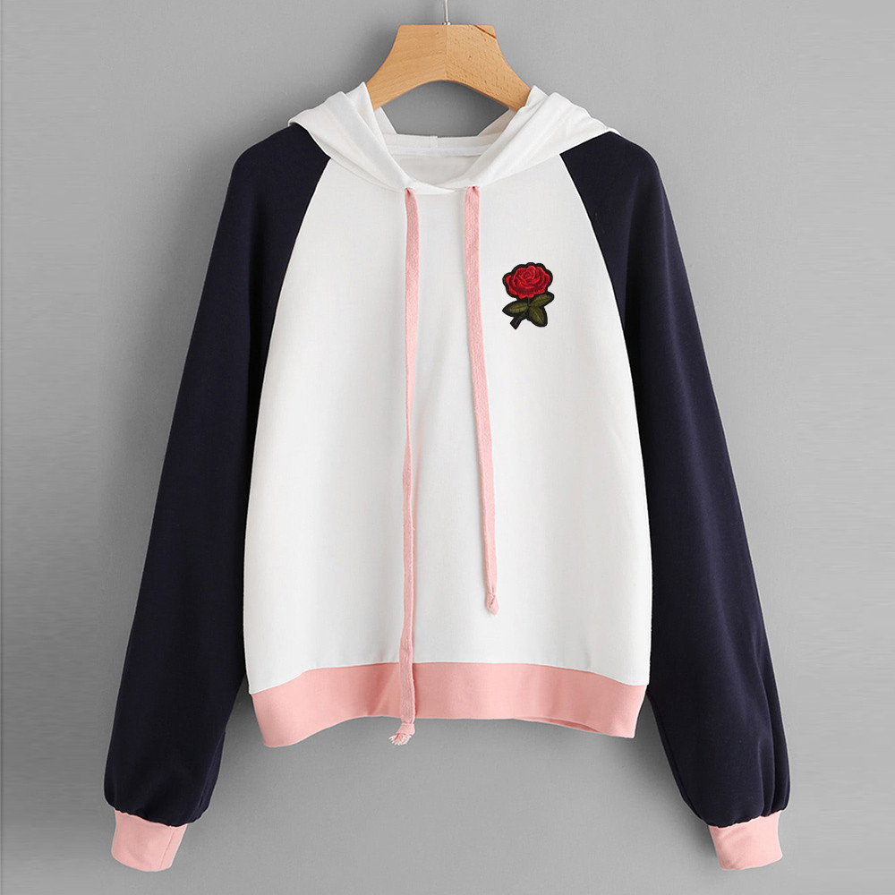 Women's Clothing Humble 2018 Fashion Womens Rose Raglan Hoodie Appliques Sweatshirt Long Sleeve Pullover Tops Blouse Hooded Kawaii Sweatshirts Ladiesf80