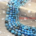 """Pick Size:4 6 8 10 12 14mm Faceted Blue Fire Natural Agate Round Beads 15""""  Free Shipping(w03334)"""