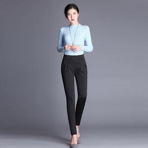 Image 3 - Plus Size High Waist Pants Women Vintage Pleated Harem Pants Loose Trousers Stretch Casual Office Pants Female Pantalon Mujer