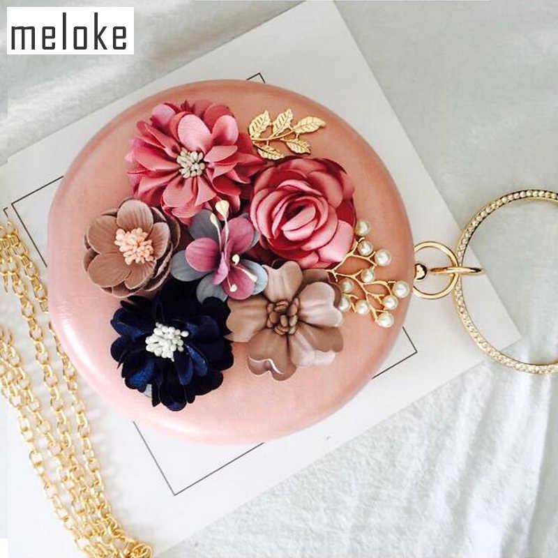 Meloke 2019 handmade flowers evening clutch bags brand mini round mini  clutch wallets wedding dinner bags 0583915a7a48