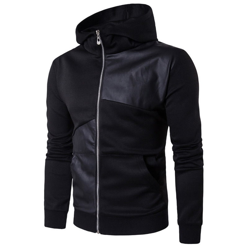 men's spring autumn  black PU splicing long sleeve Hooded cardigan zipper hoodie sweatshirt men casual hoodies