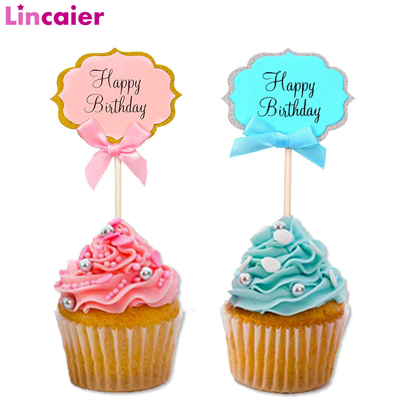 Outstanding 5Pcs Paper Happy Birthday Cupcake Cake Toppers Birthday Party Funny Birthday Cards Online Inifodamsfinfo