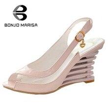 Grande Taille 34-43 D'été De Gelée Transparente Chaussures pour Femme Coins Chaussures Boucle Up Haute Talons Peep Toe Moins plate-forme Sandales