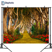 DePhoto Red Flowers Tree road Photography Backdrop computer Printed children wedding party Backgrounds for Photo Studio(China)