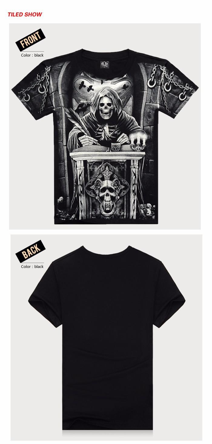 T shirt men 3D Summer style 3D T shirt 100% Cotton casual Tshirt Men clothes Pattern Bone death 2015 Hot hip hop t shirt men 117 (2)