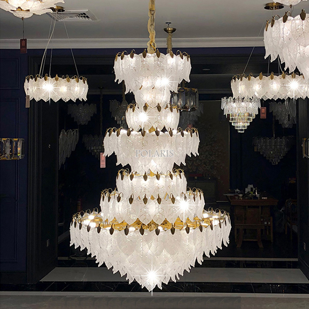 Modern Luxury LED Crystal Chandelier Lighting Large Hotel Restaurant Staircase Chandeliers Lights Living Room Cristal Lamps