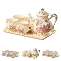 YOLIFE Ivory Porcelain Tea Cups Set with Tray for Gift