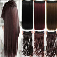 Long straight 26 inch 66 cm clip in hair extension brown blonde black hair pad free.jpg 200x200