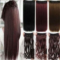 Long straight 26 inch 66 cm clip in hair extension brown blonde black hair pad free.jpg 250x250