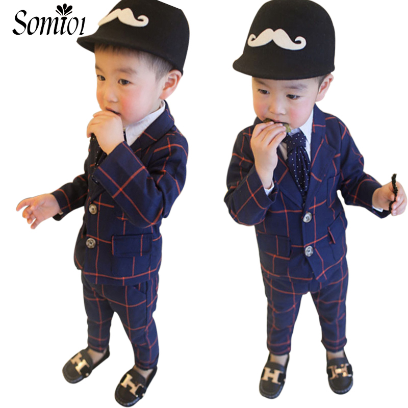 2018 New Children Clothing Set England Gentleman Boys Party Wedding Suits Baby Boy Formal Plaid Long-Sleeved Sets Kids Clothes gentleman baby boy clothes black coat striped rompers clothing set button necktie suit newborn wedding suits cl0008
