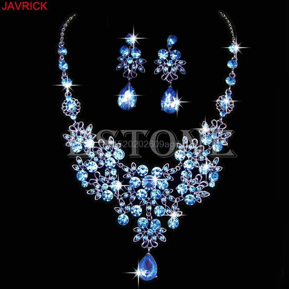Wedding Bridal Formal Party Prom Jewelry Crystal Rhinestone Necklace  Set #H058#
