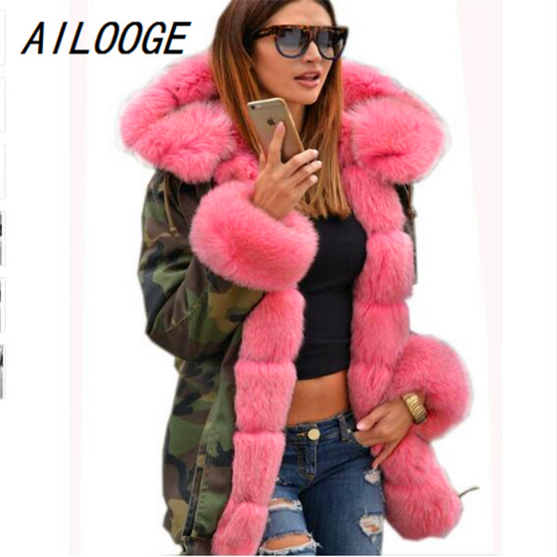 AILOOGE Thickened Faux Fur Camouflage Hot Pink   Parka   Women Hooded Long Winter Jacket Overcoat US Plus Size S M L XL XXL 3XL