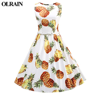 Olrain 1960s Women O Neck Retro Audrey Hepburn Style Big Swing Lapel Shirt Dress Lemon Waist