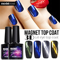 Modelones High Quality Cat Eyes Finish Gel Polish UV Top Coat Chameleon Magnet UV Nail Gel Polish Hot 6 Style Magnetic Top Coat