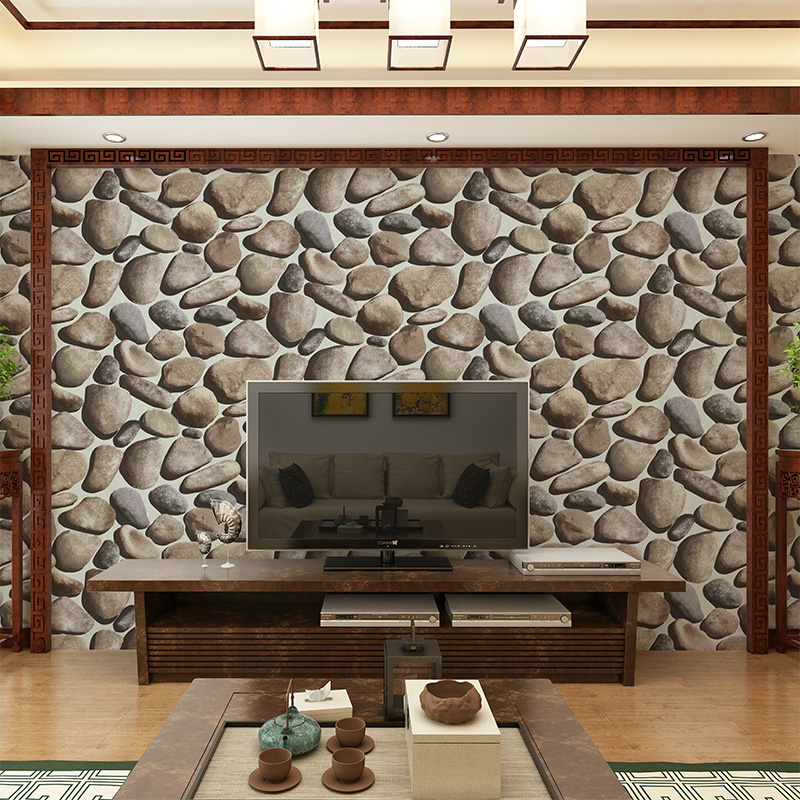 Beibehang Minimalist Chaos Stone Background Wall Wallpaper Waterproof 3D Stereo Pebble Living Room Fashion Video