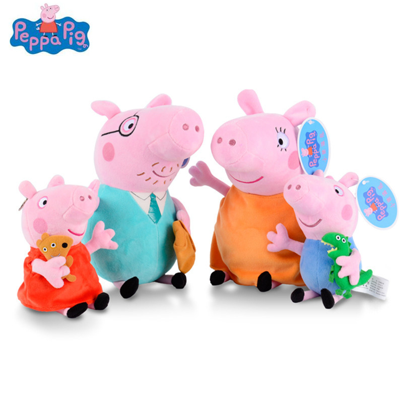 4Pcs/set Peppa George Pig 30/19cm Stuffed Plush Toy Mother Father Pig Doll Birthday New Year 2018 Gift Toy For Girl Kids