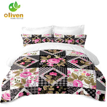 Ethnic Flowers Duvet Cover Set Patchwork Plaid Bedding Set Plant Leaves Print Quilt Cover Polyester Microfiber Bedclothes D30 check plaid print duvet cover set