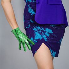 Snake Skin Short Style Gloves 21cm Simulation Leather Woman Patent PU Bright Green Animal P91