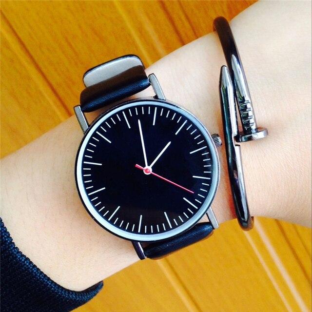 Simple Wrist Watches Clean No LOGO Dial Design Fresh Fashion Casual Clock Leathe
