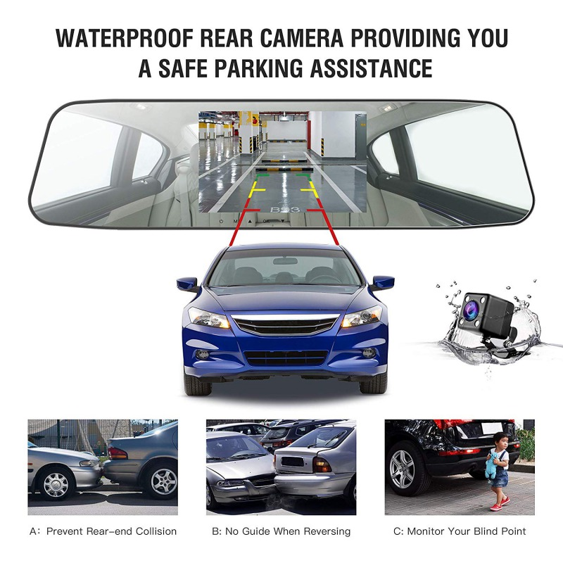 Image 5 - AUTMOR Car Dvr Mirror 4.3Inch Touch Screen FHD 1080P Car Rear View Mirror Camera Dual Lens Dash Cam Parking Monitor Black Box-in DVR/Dash Camera from Automobiles & Motorcycles