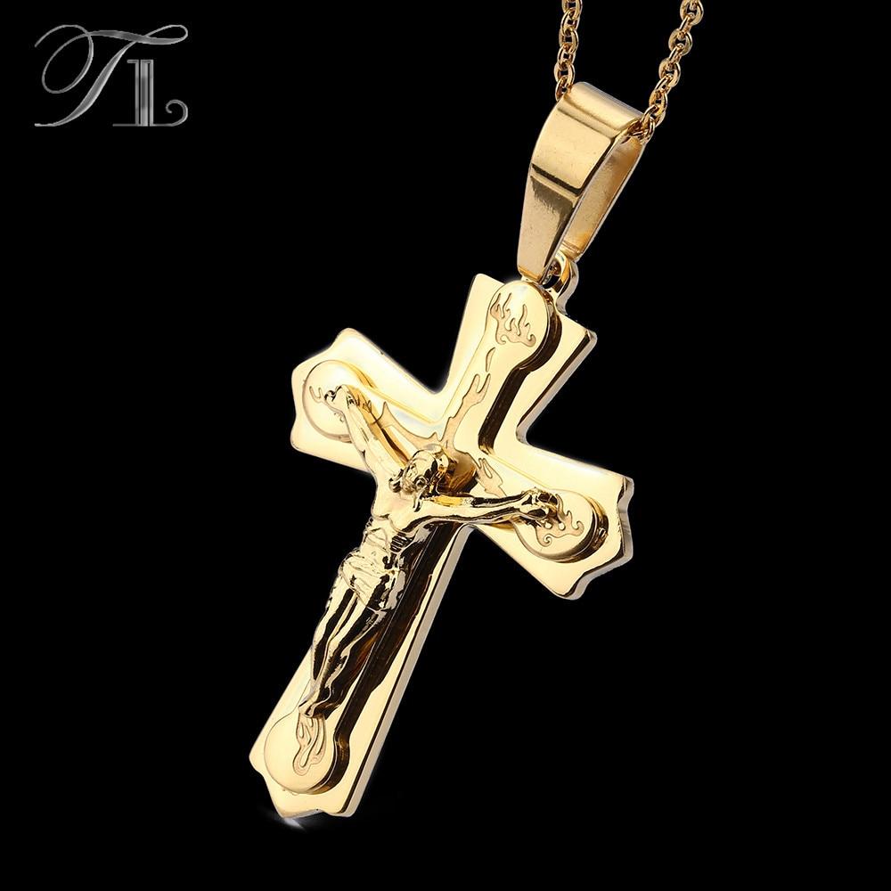 TL Necklace Pendant Brand Necklaces Silver Gold Color Jewelry Antique Cross Crucifix Jesus Cross Pendant Necklaces For Women Men