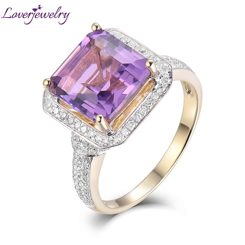 Classice Women Rings Solid 6.22Ct 14Kt Yellow Gold Diamond Purple Amethyst For Engagement Party Wedding Ring Fine Jewelry Gift