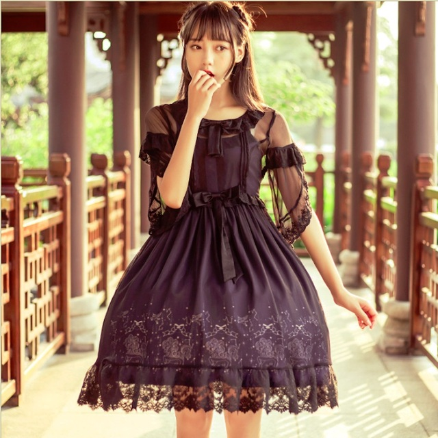 297854206e New Quality Chinoiserie Style Lolita Dresses Half Sleeve TThe court dress  Sweet Lace Girls Exquisite Princess Skirt Clothing