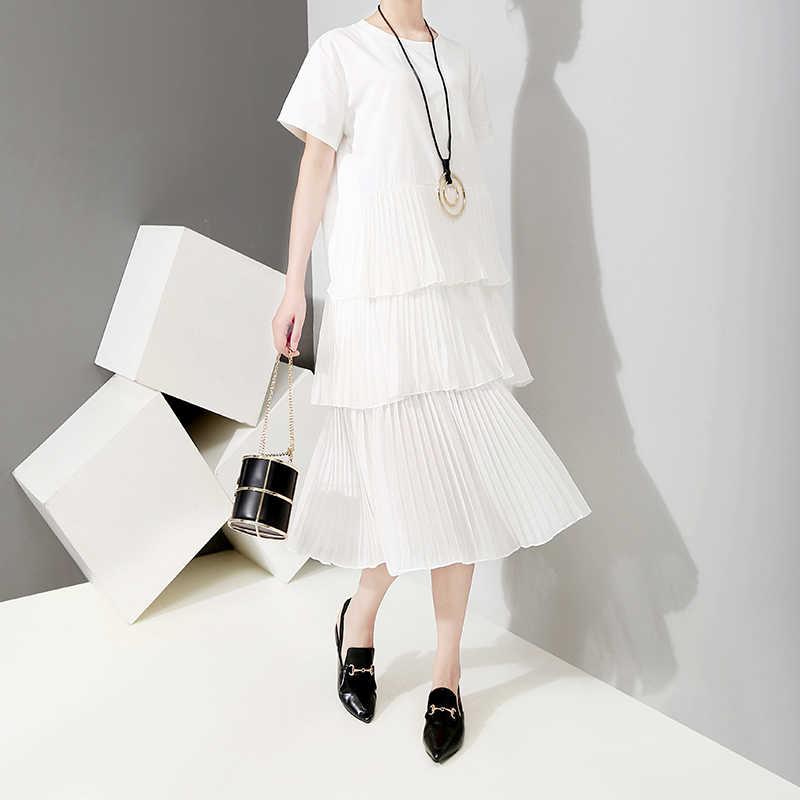 Новинка 2019, корейский стиль, женское летнее однотонное белое Каскадное платье с оборками и коротким рукавом, повседневное милое платье миди, женская одежда для вечеринки 5009