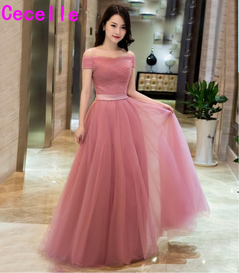 2019 Blushing Pink Cheap   Bridesmaid     Dresses   Long off the Shoulder pleats Tulle floor length Wedding Party   Dress   Corset Back