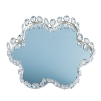 Cupcake silver tray decorating cake stand with mirror and crystal plate perfume holder mirrored makeup tray wedding party