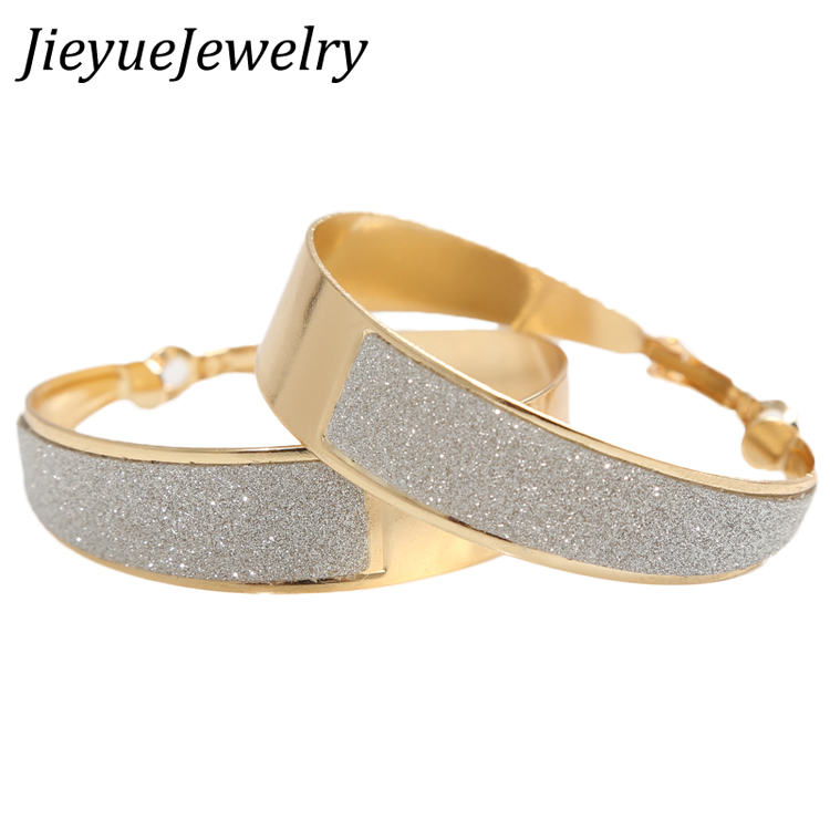 Charming Jewelery Fashion 1 Pair Summer Style Rhinestone Inlaid Hoop Round Woman Earrings Color Gold Silver Plated