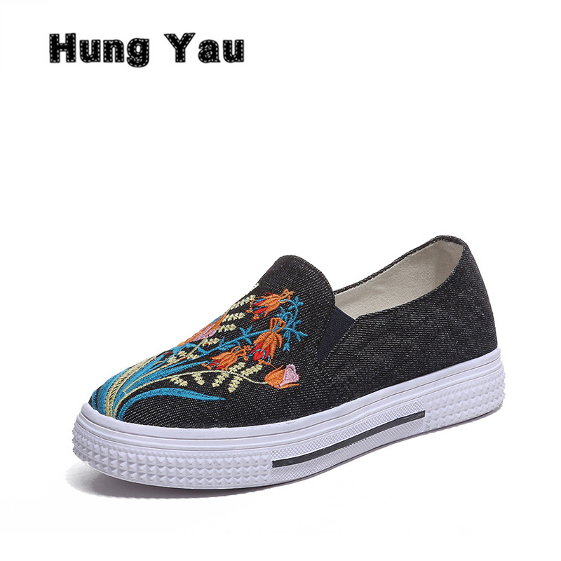 Hung Yau Women Slip On Flat Denim Casual Shoes Canvas Espadrilles Slipony Solid Breathable Student Embroidered Shoes Plus Size 9 hung yau women flats casual pointed toe slip on flat shallow shoes soft comfortable breathable leather shoes woman plus size 41