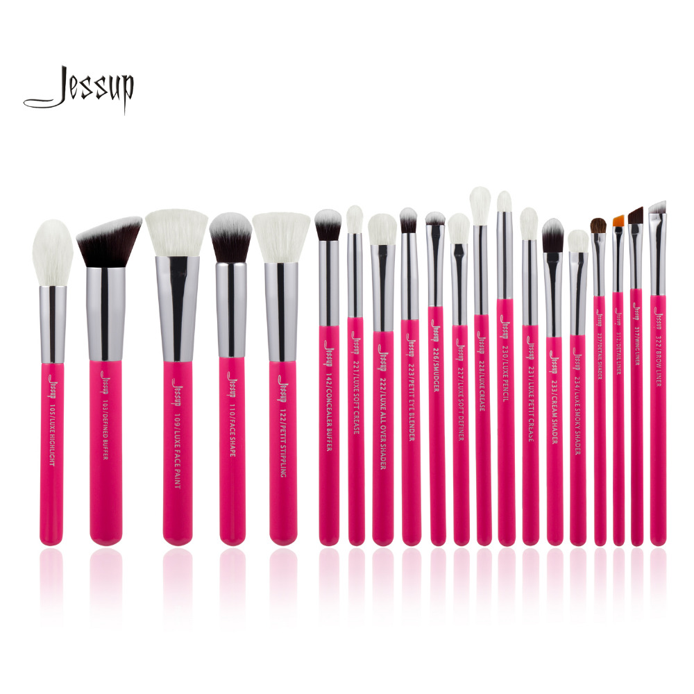 Jessup Rose-carmin/Silver Professional Makeup Brushes Set Beauty Tools Make up Brush Cosmetic Foundation Powder jessup 14pcs black silver high quality pro makeup brushes set beauty tools make up brush cosmetic kits t132