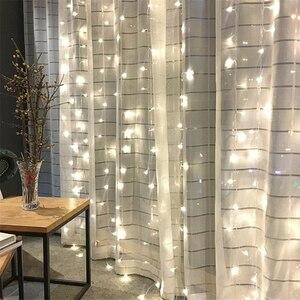 Image 2 - Guirlande lumineuse pour rideau décoratif féerique de noël, 1.5x1.5M, 2x2M, guirlandes de noël, LED cordes, pour fête de noël, jardin, mariage