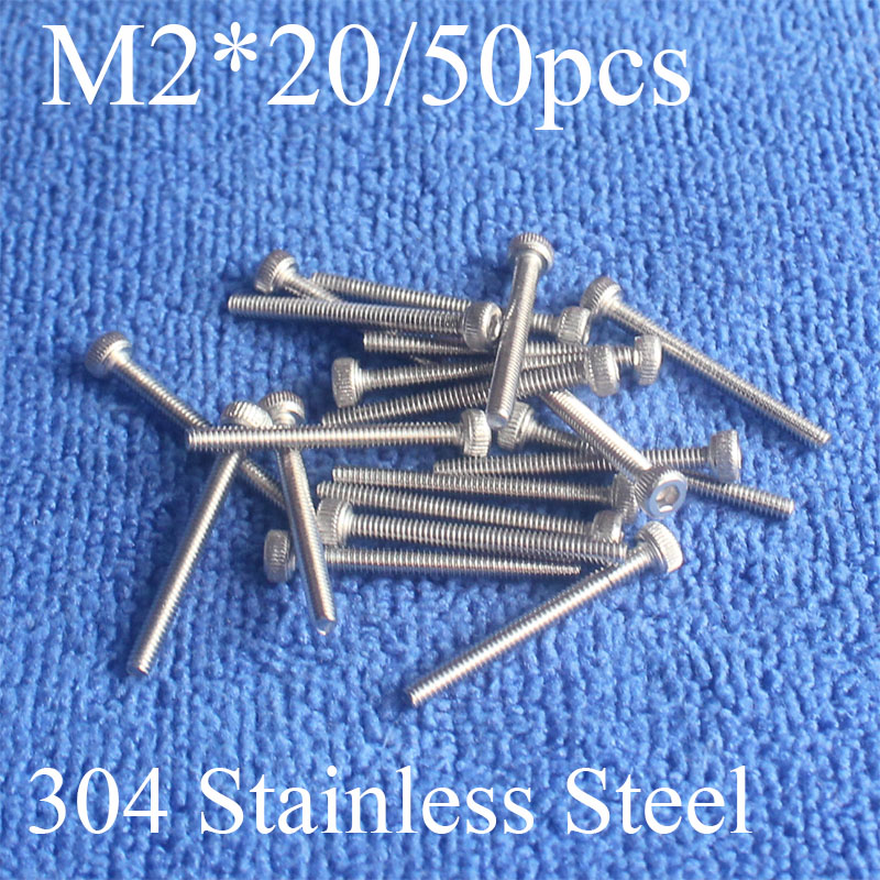 50Pcs M2*20 304 Hexagon Socket Head Cap Screws Hex Socket Screw Furniture Metric Bike Bolt screw set stainless steel screws m4 x 12mm alloy steel hex bolt socket head cap screws black 50 pcs