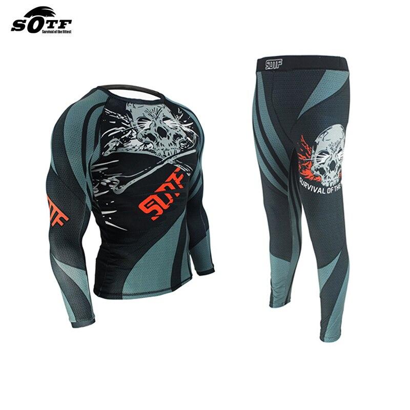 Boxing MMA Training Compression Jersey & Pants Strechy Skull Rashguard KickBoxing Tight Long T-Shirt Fitness Muay Thai Fightwear