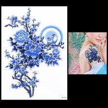 1 PC Lasted Temporary Flower Bird Decal Tattoo HB566 Fake Blue Peony Tree Colored Drawing Women Back Arm Body Art Tattoo Sticker