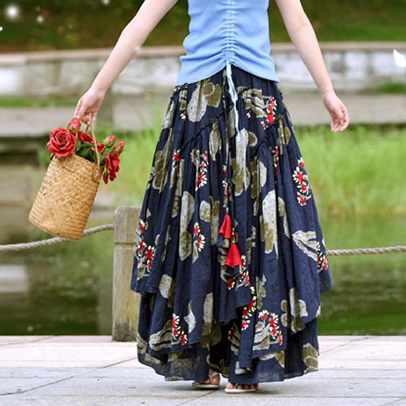 Blue Féminin Designs Long Taille Lin Jupes Femmes Floral Grand De 2018 Printemps La Plus Royal National D'été D'impression Jupe Coton Et Style Zw81Ixqt